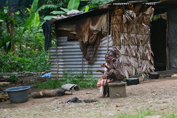 Bagyeli girls in the village of Bandevouri, near Kribi, Cameroon.