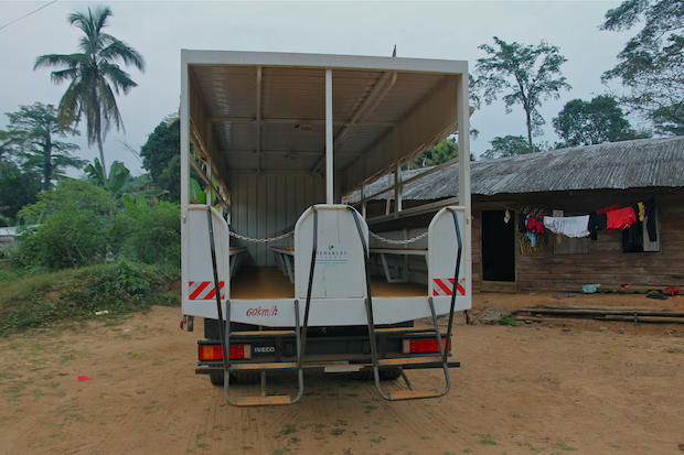 Idle Herakles Farms truck, Fabe, Southwest Region, Cameroon.